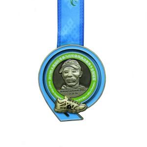 MTB Adventure and Grassland Extreme Marathon Slider Shoes Medal with Antique-gold finish